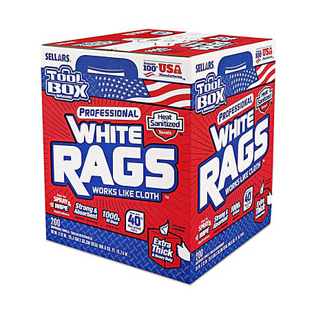 TOOLBOX White Rags Box, Pack of 200, 349371599
