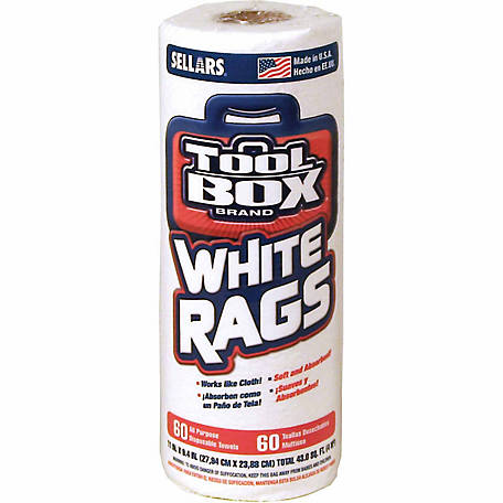 TOOLBOX White Rags Roll, Pack of 60, 5105601
