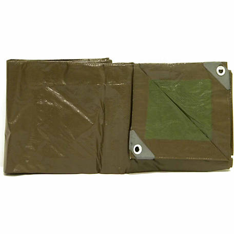 JobSmart Polyethylene 10 ft. x 12 ft. Tarp, Brown/Green