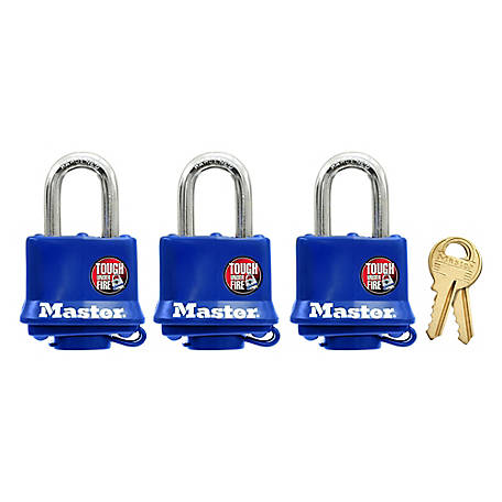 Master Lock Covered Laminated Steel Pin Tumbler Padlock, 312TRI