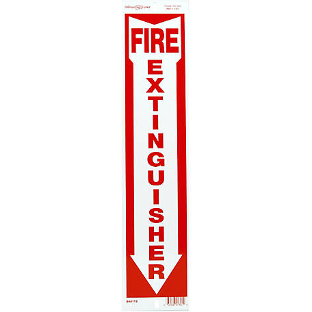 Hillman Aluminum Fire Extinguisher Sign, 4 in. x 18 in.
