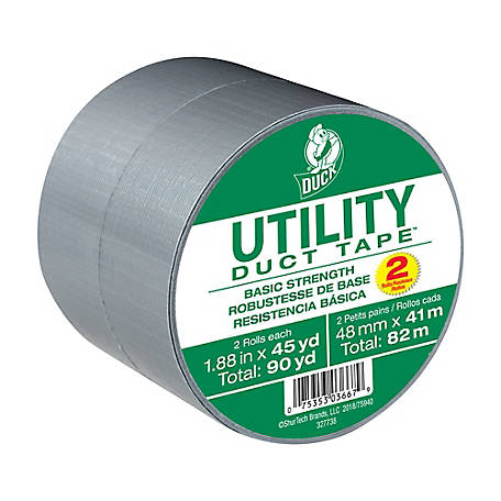 Silver  Duck Tape, 1.88in x 45yd, Pack of 2