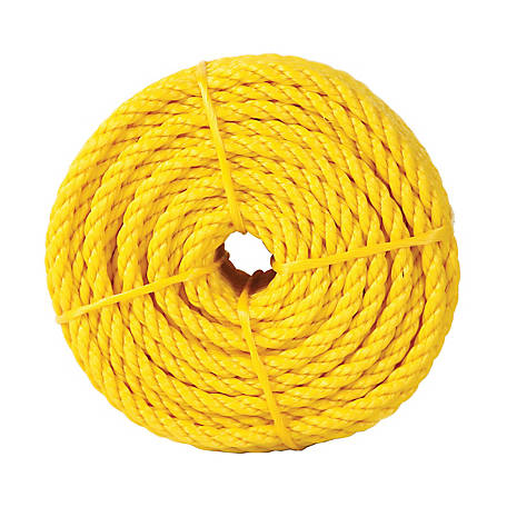 Koch Industries Polypropylene Twisted Rope, Yellow, 3/8 in. x 100 ft. Coil