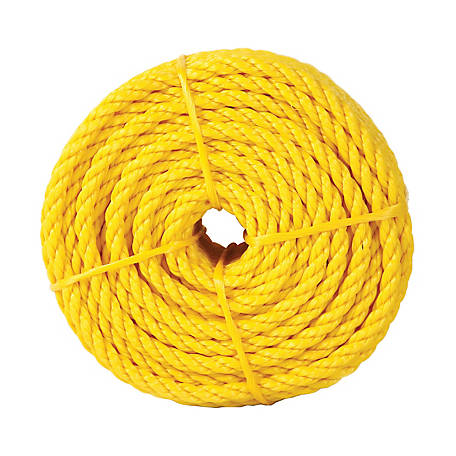 Koch Industries Polypropylene Twisted Rope, Yellow, 1/2 in. x 100 ft. Coil
