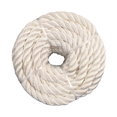 Koch Industries Nylon Twisted Rope, White, 3/8 in. x 100 ft. Coil