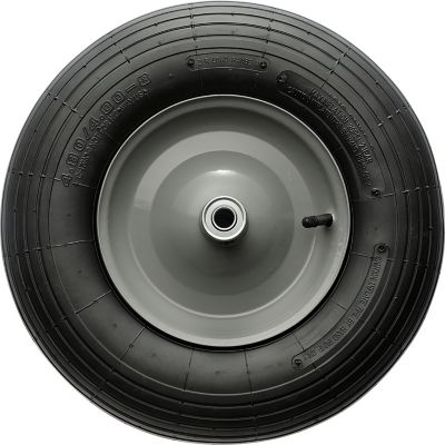 Wheelbarrow Tire; Ribbed Tread; 16 in. x 4.00-8