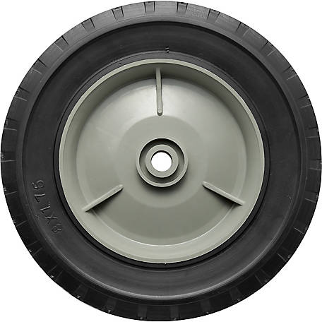 8 in. x 1.75 in. Solid Tire with Offset Plastic Hub and Diamond Tread, 1/2 in. Bore Size