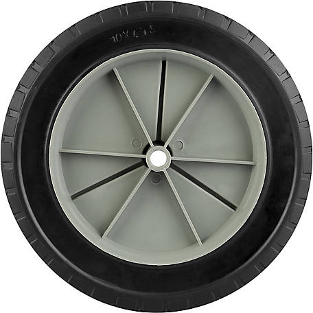 10 in. x 1.75 in. Solid Tire with Offset Plastic Hub and Diamond Tread, 1/2 in. Bore Size