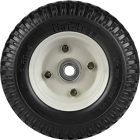 8 in. x 2.50-4 in. Flat-Free Wheels Knobby Tread, 5/8 in. Bore Size