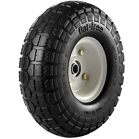 4.10/3.50-4 in. Flat-Free Wheels with Knobby Tread, 5/8 in. Bore Size, PU 1005