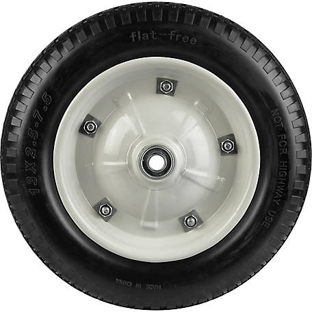 13 in. x 3 in. Flat-Free Wheels with Knobby Tread, 5/8 in. Bore Size
