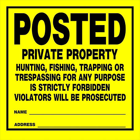 Hillman Posted Private Property Signs, Roll of 25, 11 in. x 11 in., 843388