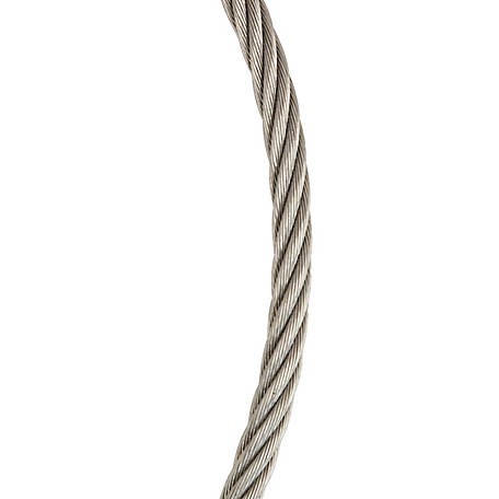 Koch Industries Wire Rope Cable, 7x7, Stainless Steel, 1/16 in. dia.