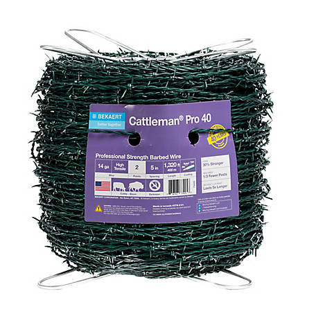 Bekaert Cattleman Pro High Tensile Barbed Wire 2 pt. 14 ga., Green, 135463