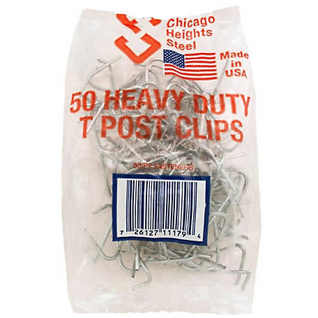 Chicago Heights Steel T-Post Clips, Pack of 50