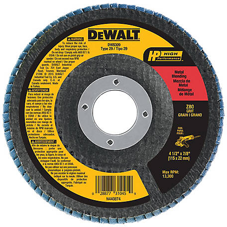 DeWALT 80g Type 29 HP Flap Disc, 4-1/2 in. x 7/8 in., DW8309