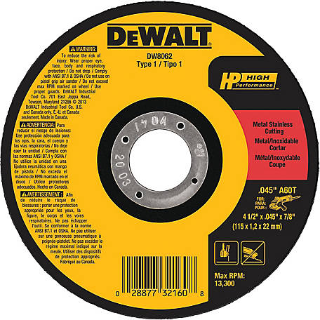 DeWALT 4-1/2 in. x .045 in. x 7/8 in. High Performance Type 1 Metal & Stainless Blade