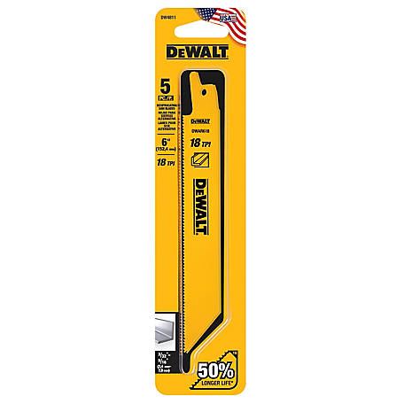 DeWALT 18 TPI Straight Back Bi-Metal Reciprocating Blade, 6 in., Pack of 5