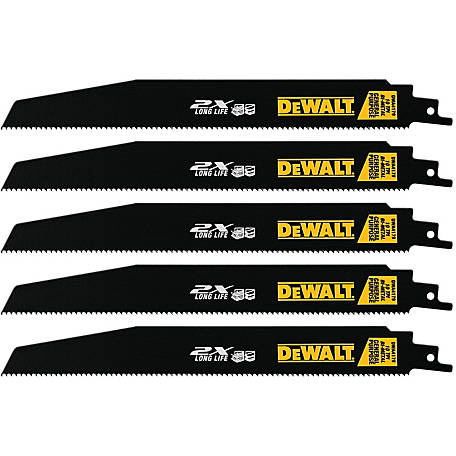 DeWALT 10 TPI Demolition Bi-Metal Reciprocating Saw Blade, 9 in., Pack of 5, DWA4179