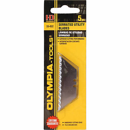 Olympia Tools Serrated Utility Blade, Pack of 5