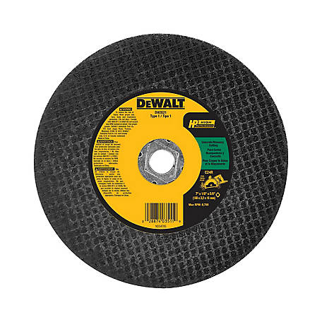 DeWALT 7 in. x 1/8 in. x 5/8 in. High Performance Type 1 Concrete/Masonry Cutting Blade