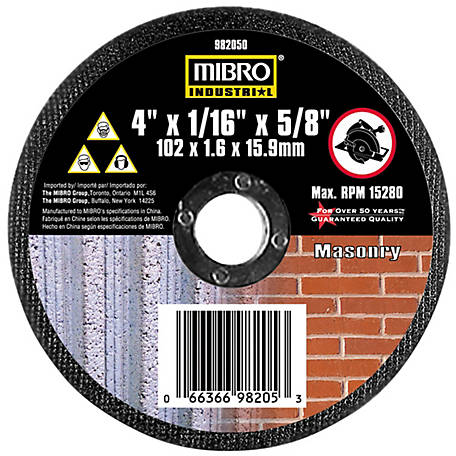 Mibro 4 in. x 1/16 in. x 5/8 in. Masonry Cut-Off Abrasive Wheel