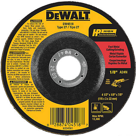 DeWALT 4-1/2 in. x 1/8 in. x 7/8 in. High Performance Type 27 Metal Cutting/Grinding Wheel