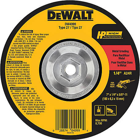 DeWALT High Performance Metal Grinding Wheel, 7 in. x 1/4 in. x 5/8 in.