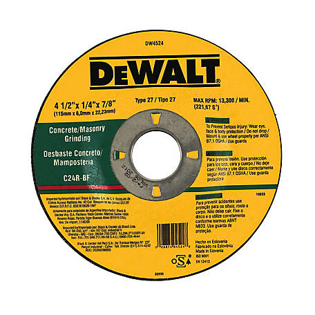 DeWALT 4-1/2 in. x 1/4 in. x 7/8 in. TYPE 27 Masonry High Performance Grinding Wheel