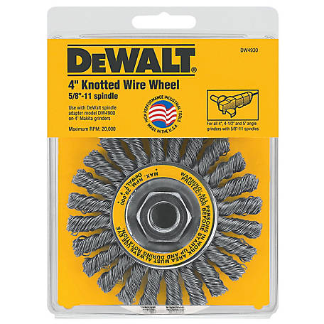 DeWALT 4 in. x .020 in. x 5/8 in.-11 Cable Twist Knotted Wire Wheel, 20,000 (max.) RPM, DW4930