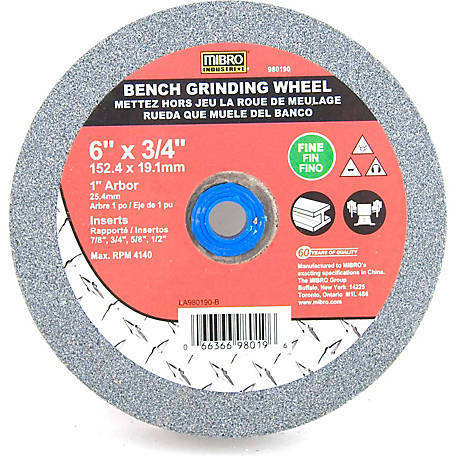 Mibro Fine Bench Grind Wheel 6 in. x 3/4 in x 1 in.