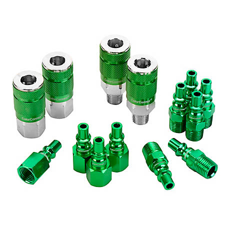 Legacy ColorConnex Coupler & Plug Kit, Type B, 1/4 in. NPT, 1/4 in. Body, Green, 14-Piece, A71458B