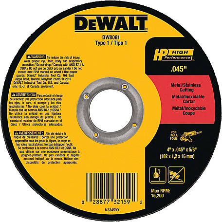 DeWALT 4 in. x .045 in. x 5/8 in. High Performance Type 1 Metal/Stainless Cutting Wheel