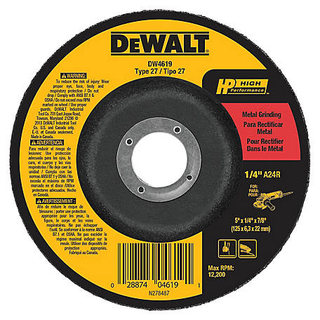 DeWALT 5 in. x 1/4 in. x 7/8 in. High Performance Type 27 Metal Grinding Wheel