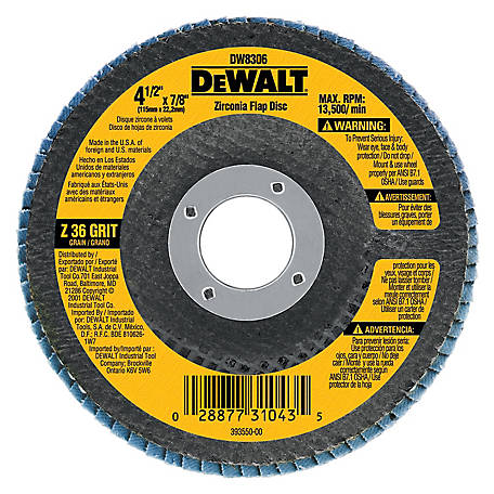 DeWALT 36g Type 29 HP Flap Disc, 4-1/2 in. x 7/8 in., DW8306