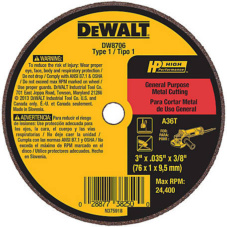 DeWALT 3 in. x .035 in. x 3/8 in. High Performance Metal/Stainless Cutting Wheel