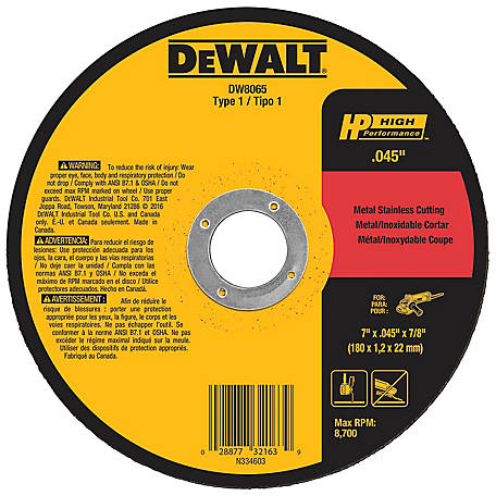 DeWALT 7 in. x .045 in. x 7/8 in. High Performance Metal/Stainless Cutting Wheel, DW8065