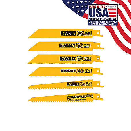 DeWALT 6 Piece Bi-Metal Reciprocating Saw Blade Set