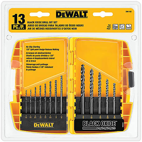 DeWALT 13 pc. Black Oxide Split Point Twist Drill Bit Assortment, DW1163