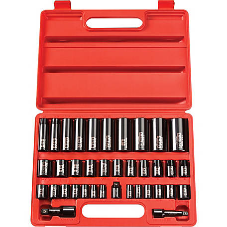 TEKTON 3/8, 1/2 in. Drive 6-Point Impact Socket 38-Piece Set, 3/8 - 1-1/4 in., 8-32 mm