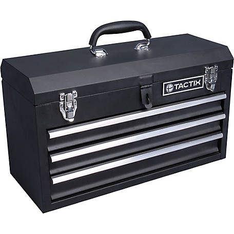 Hom 3 Drawer Top Storage Rolling Tool Chest Cart Black