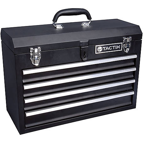 Tactix 4 Drawer Steel Portable Tool Chest  In L Black