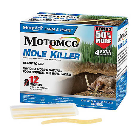 Motomco Mole Killer, Worm, Pack of 8, 34310