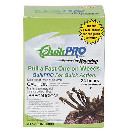 Roundup Quikpro Grass & Weed Killer Granules, 73.3% Glyphosate, 5 (1.5 oz.) Units