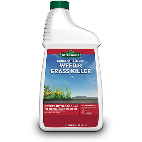 GroundWork Weed & Grass Killer Concentrate, 25% Glyphosate, 40 oz., 9541417