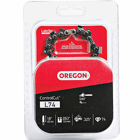 Oregon 18 in. Bar Saw Chain, 0.325 Pitch, 0.063 Gauge, Use 3/16 in. File, 74 Drive Links