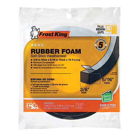 Frost King Rubber Foam Self-Stick Weatherseal, 3/8 in., R538H
