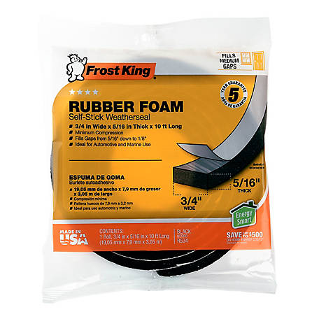 Frost King Rubber Foam Self-Stick Weatherseal, 3/4 in.