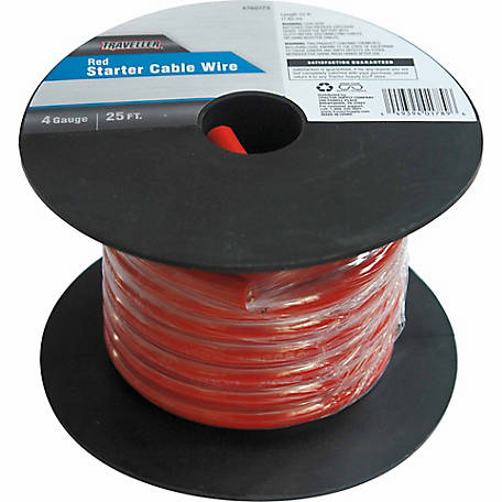 Traveller Starter Cable Wire, 4 Gauge, 25 ft., Red
