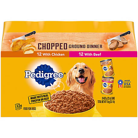 Pedigree Chopped Ground Dinner Variety Pack with Beef & Chicken Canned Dog Food, 22 oz., Pack of 24